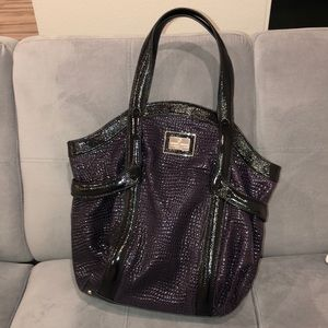 Giorgio Armani Purple and Black Textured Large Bag